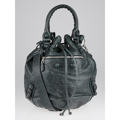 Balenciaga Anthracite Lambskin Leather Giant Brogues Covered PomPon Bag