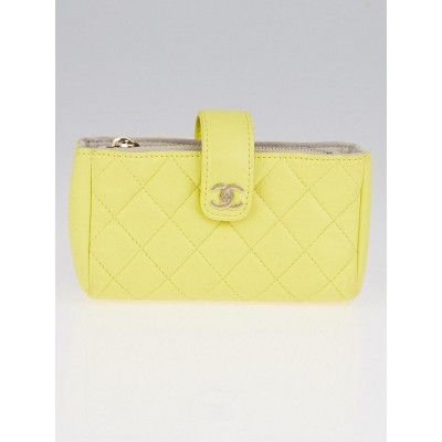 Chanel Yellow Quilted Lambskin Leather Mini Pouch