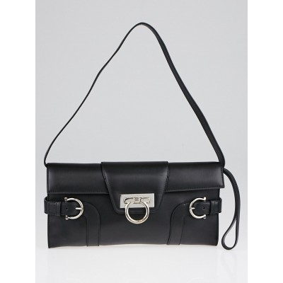 Salvatore Ferragamo Black Calf Leather Motherwell Clutch Bag