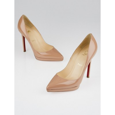 Christian Louboutin Nude Patent Leather Pigalle Plato 120 Pumps Size 7/37.5