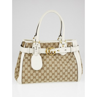 Gucci Beige/White GG Canvas Running Tote Bag