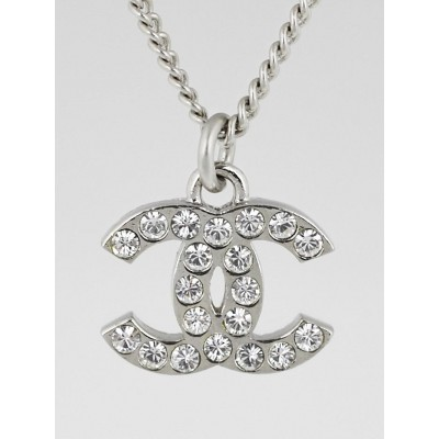 Chanel Swarovski Crystal CC Logo Small Pendant Necklace