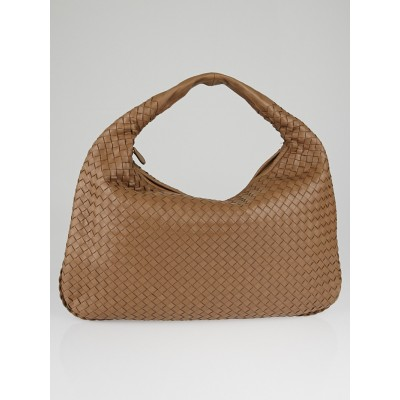 Bottega Veneta Toffee Intrecciato Woven Nappa Leather Large Veneta Hobo Bag
