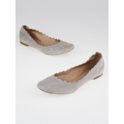 Chloe Grey Suede Waves Ballet Flats Size 8.5/39