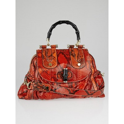 Gucci Orange Python Pop Bamboo Top Handle Bag