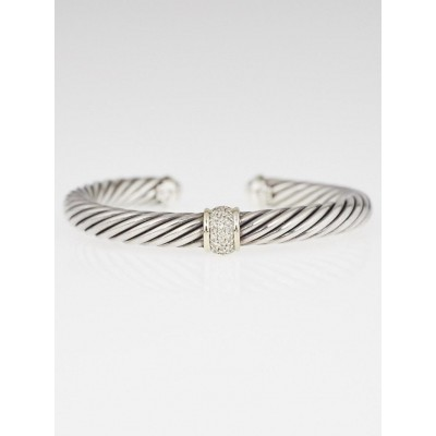 David Yurman 7mm Sterling Silver Cable and Diamond Station Bracelet