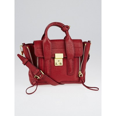 3.1 Phillip Lim Red Shark Embossed Leather Mini Pashli Satchel Bag