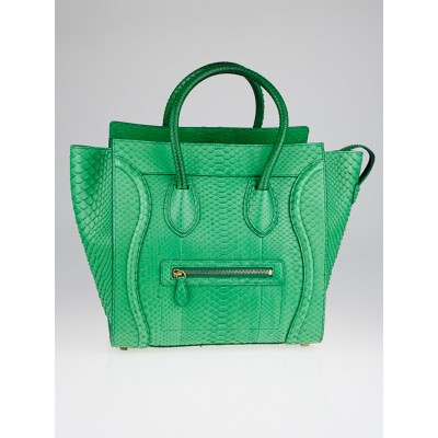Celine Grass Green Python Mini Luggage Tote Bag