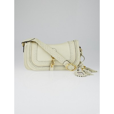 Gucci White Leather Woven 'Handmade' Medium Flap Bag