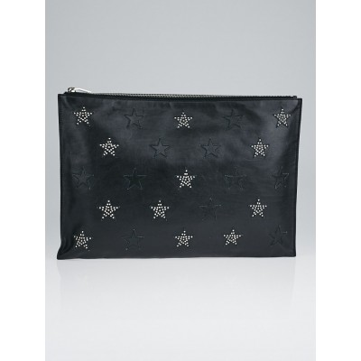Yves Saint Laurent Black Leather Stars Zip Clutch Bag