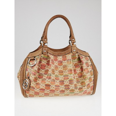 Gucci Multicolor Woven Straw Lebeccio Medium Sukey Tote Bag