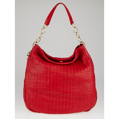Christian Dior Red Woven Lambskin Leather Dior Soft Hobo Bag