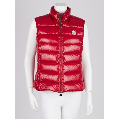 Moncler Raspberry Quilted Nylon Down Vest Size 4/XL