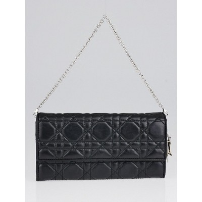 Christian Dior Black Cannage Quilted Leather Rendez-Vous Clutch Bag