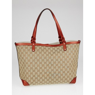Gucci Beige/Red GG Canvas Craft Original Tote Bag