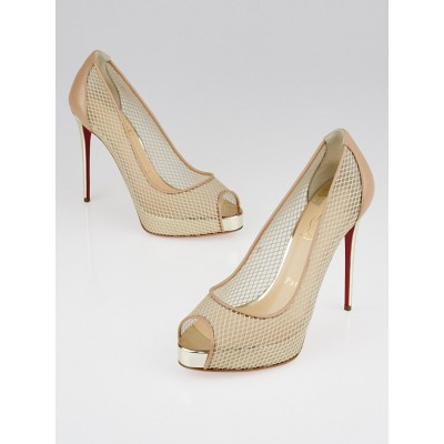 Christian Louboutin Beige Mesh and Leather Very Rete 120 Peep Toe Pumps Size 6.5/37