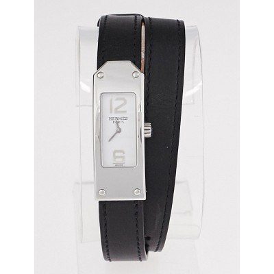 Hermes Black Leather Kelly 2 Double Tour Quartz Watch KT1.210