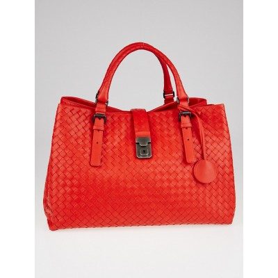 Bottega Veneta Vesuvio Intrecciato Woven Nappa Leather Roma Tote Bag