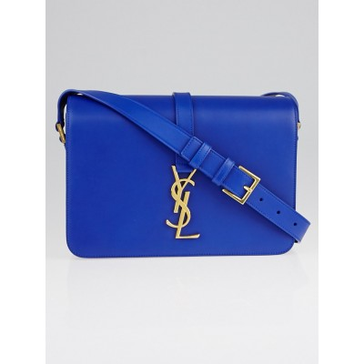 Yves Saint Laurent Blue Smooth Calfskin Leather Monogramme Sac Universite Medium Shoulder Bag