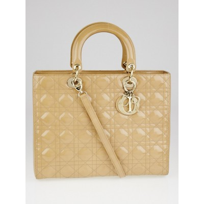 Christian Dior Beige Cannage Quilted Patent Leather Large Lady Dior Tote Bag