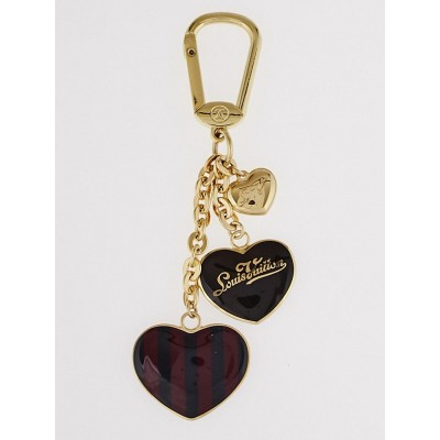 Louis Vuitton Amarante Rayures Heart Key Holder and Bag Charm