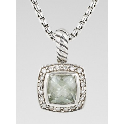 David Yurman 7mm Sterling Silver and Pave Diamond with Prasiolite Petite Albion Pendant Necklace