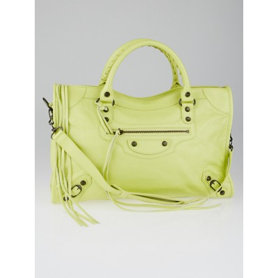 Balenciaga Jaune Citronnade Lambskin Leather Motorcycle City Bag