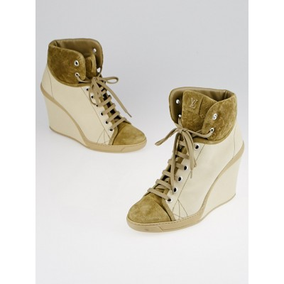 Louis Vuitton Beige Canvas and Suede Sneaker Wedges Size 9.5/40