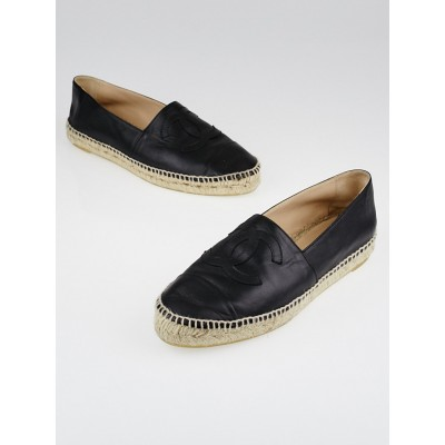 Chanel Black Lambskin Leather CC Espadrille Flats Size 10.5/41