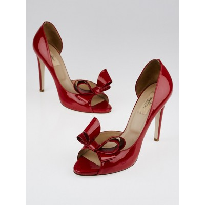 Valentino Red Patent Leather Peep-Toe Bow Pumps Size 9.5/40