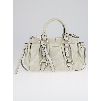 Miu Miu Grey Leather Small Soft Shopping Top Handle Bag