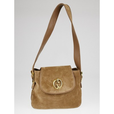 Gucci Brown Suede 1973 Medium Shoulder Bag