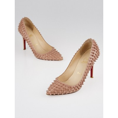 Christian Louboutin Nude Patent Leather Pigalle Spikes 100 Pumps Size 5.5/36