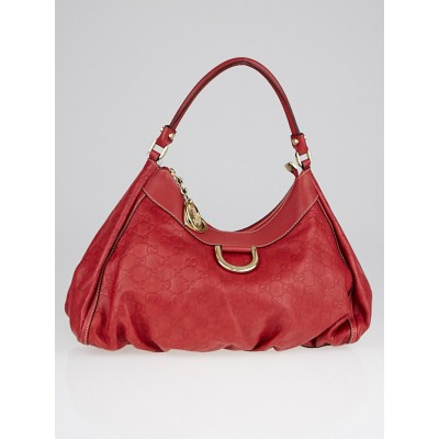 Gucci Red Guccissima Leather Large D-Ring Hobo Bag