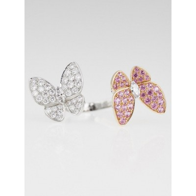 Van Cleef & Arpels Diamond and Pink Sapphire Two Butterfly Between the Finger Ring Size 53/6.75