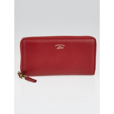 Gucci Dark Red Pebbled Leather Bamboo Tassel Zip Around Wallet