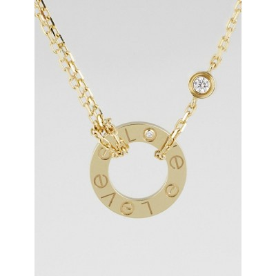 Cartier 18k Yellow Gold and Two Diamond LOVE Pendant