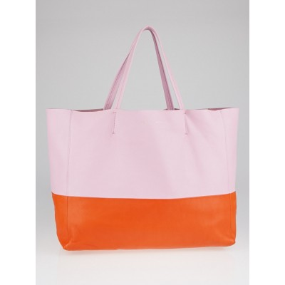 Celine Pink/Burnt Orange Bicolor Lambskin Leather Horizontal Cabas Tote Bag