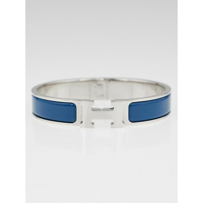 Hermes Deep Blue Enamel Palladium Plated Clic H Narrow PM Bracelet