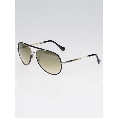 Balenciaga Black Leather and Silvertone Metal Aviator Sunglasses -BA14