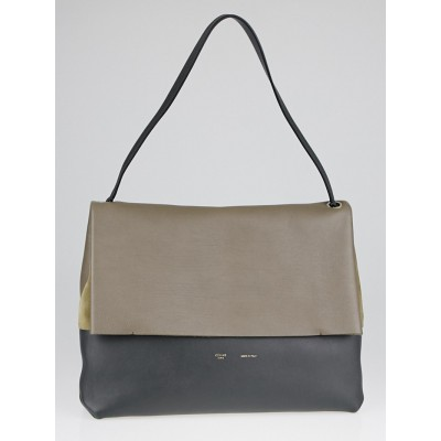 Celine Taupe/Grey Calfskin Leather and Suede All Soft Shoulder Bag