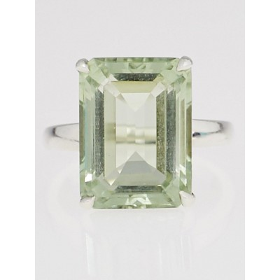 Tiffany & Co. Sterling Silver and Prasiolite Sparkers Cocktail Ring Size 8