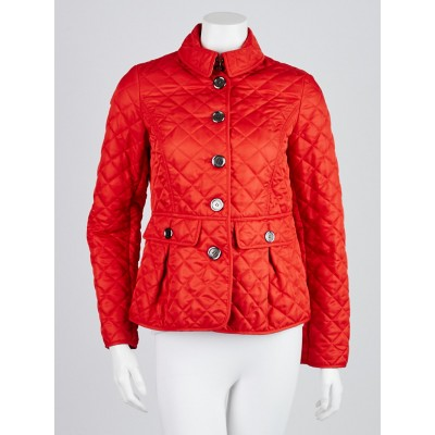 Burberry Brit Red Diamond Quilted Polyester Jacket Size XS