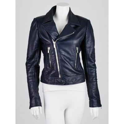 Balenciaga Navy Blue Lambskin Leather Classic Biker Jacket Size 8/40