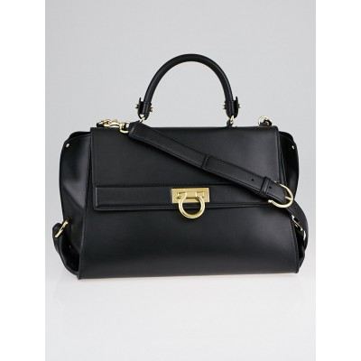 Salvatore Ferragamo Black Smooth Calf Leather Medium Sofia Bag