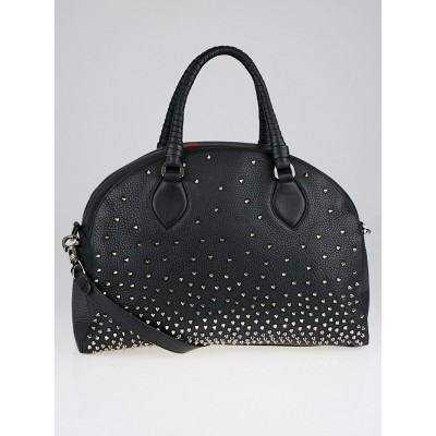 Christian Louboutin Black Calf Leather Spikes Panettone Large Bowler Bag