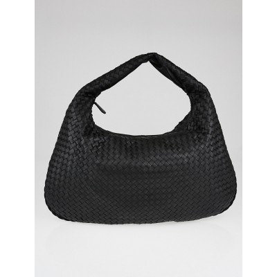 Bottega Veneta Black Intrecciato Woven Nappa Leather Maxi Veneta Hobo Bag