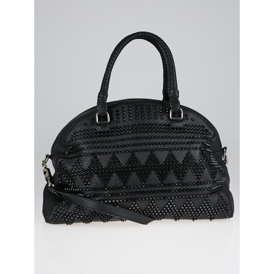 Christian Louboutin Black Calf Leather Chevron Spikes Panettone Large Bowler Bag