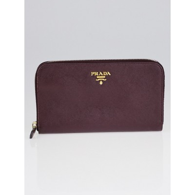 Prada Bordeaux Saffiano Metal Leather Zip Wallet 1M0506