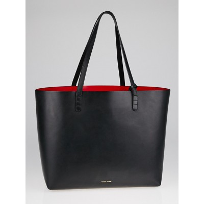 Mansur Gavriel Black/Flamma Leather Large Tote Bag